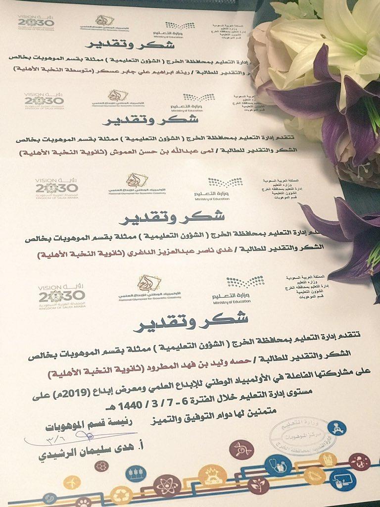 طالبات ثانوي المشاركتات في الاولمبياد الوطني للابداع العلمي ومعرض ابداع٢٠١٩ على مستوى محافظة الخرج