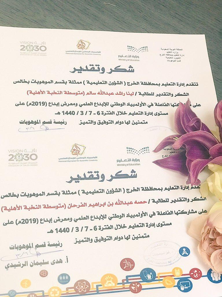 طالبات متوسط المشاركتات في الاولمبياد الوطني للابداع العلمي ومعرض ابداع٢٠١٩ على مستوى محافظة الخرج